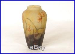 Petit vase pâte de verre Daum Nancy fleurs Giroflées Art Nouveau XIXème