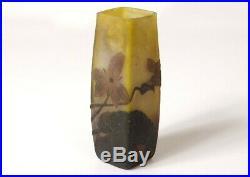 Petit vase pâte de verre fleurs feuillage signé Art Nouveau XIXème siècle