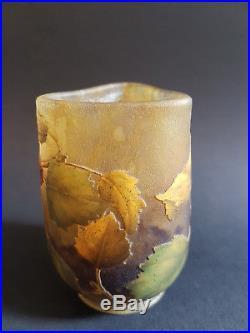 Petite coupe Daum Frères Nancy pomme d api' Email, verre, art nouveau. Vers 1910