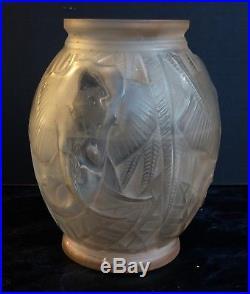 Pierre D'avesn Vase En Verre Depoli Art Deco 1930 Decor D'elephants Daum