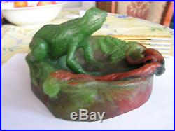 Rare Fabuleuse Pate De Verre Amalric Walter Nancy Signe Grenouille Big Frog