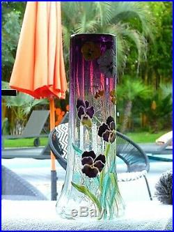 RARE. Grand vase LEGRAS. Décor Pensées. Dégradé violet. SUPERBE VASE LAMARTINE