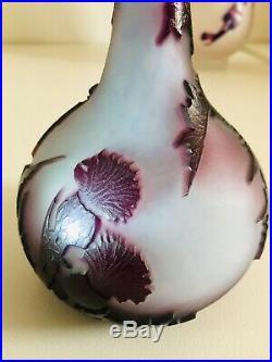 RARE Soliflore Vase Pâte De Verre Multicouche Chardons La Rochere Mauve Violet