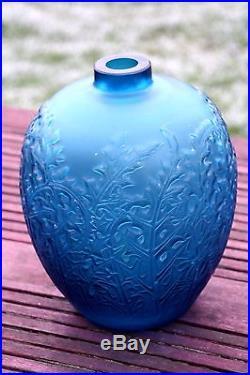 Rene Lalique Ancien Vase Acanthes En Verre Moule Bleu Presse Epoque Art Deco