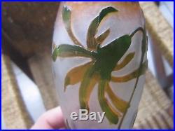 Rare Et Sublime Grand Vase En Pate De Verre Daum Nancy Martele Decor Floral