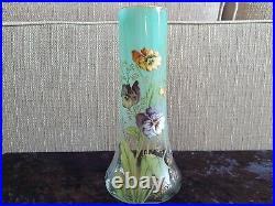 Rare Et Superbe Vase Emaille Legras A Decor De Pensees