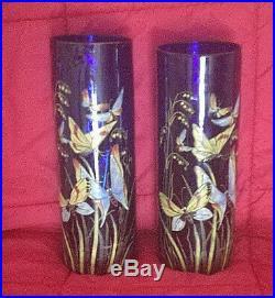 Rare Legras Paire De Vase Signe Decor Papillon Bleu
