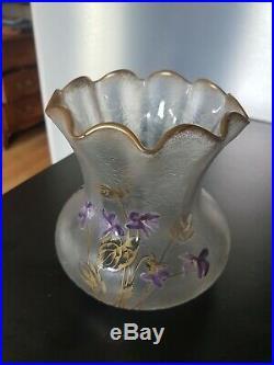 Rare Vase Cornet pantin Mont-joye Dégagé Acide Émaillé Fleurs Old vase enamels