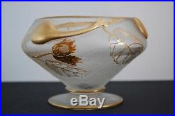 Rare Vase/Coupe verre givré émaillé décor Noisetier Legras Saint Denis