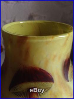 Rare Vase Daum Nancy Décor Champignons