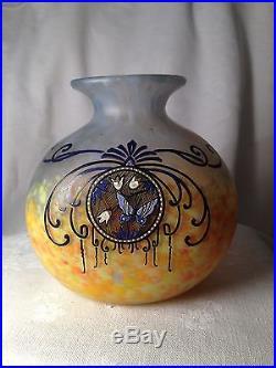 Rare! Vase En Pate De Verre Signe Legras