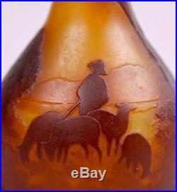 Rare Vase Muller Freres Luneville Degage A L'acide