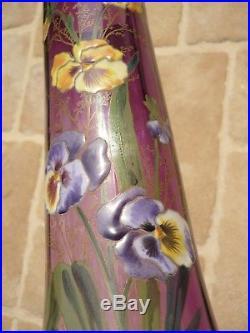 Rare Vase Verre Emaille Legras Saint Denis 1900 Decor Aux Pensees Art Nouveau