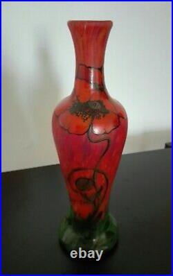 Rare Vase verre soufflé émaillé LEGRAS décor aux coquelicots Art-Nouveau