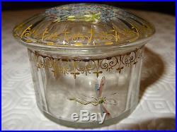 Rare bonbonnière, pâte de verre émaillé E. Gallé Nancy, première période XIX