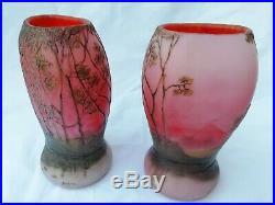 Rare paire de vases en verre doublé à décor dégagé à l'acide signé LEGRAS