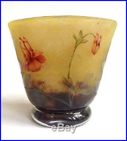 Rare superbe Vase Miniature signé DAUM Nancy, décor dégagé à l'acide