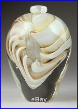Rare superbe flacon en verre soufflé, biot, incrustation. J. P Mateus 1995