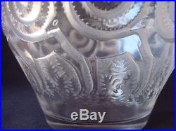 Rare vase en verre moulé pressé de Lalique Rennes signé R LALIQUE FRANCE