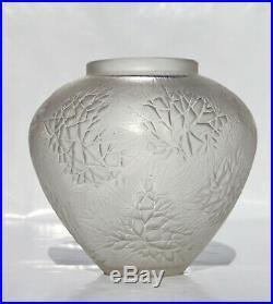 René Lalique Beau Vase Esterel en Verre Satiné Soufflé Moulé Signé Art Déco