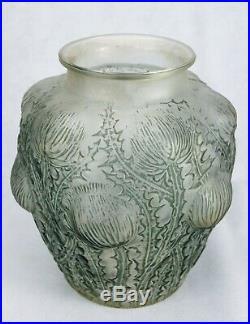 René Lalique Rare Vase Domrémy Chardons Verre Patiné Satiné Signé Art Déco