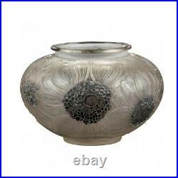 René Lalique Vase Dalhias Emaillé Noir