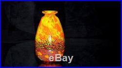 SCHNEIDER, Jades. Vase ovoïde en verre nuagé multicouche, aux poudres d'émaux