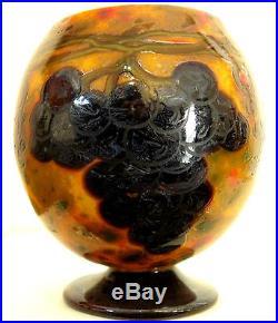 SCHNEIDER Vase boule aux Raisin Art Déco Pate de verre