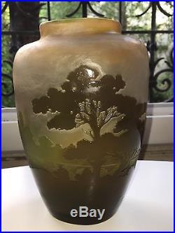 Superbe Grand Vase Galle Pate De Verre Art Nouveau Art Deco Nancy