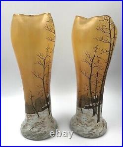 SUPERBE PAIRE Vases verre émaillé paysage enneigé Art-Nouveau LEGRAS 1900 Daum