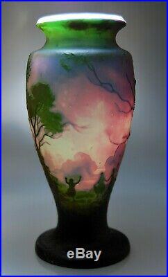 SUPERBE VASE ART NOUVEAU pâte de verre multicouches signé MULLER Fres Lunéville