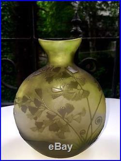 Superbe Vase Gourde Galle Pate De Verre Art Deco Nancy