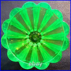 SUPERBE Vase verre ouraline épais à 12 côtes rondes, Art déco, Pierre D'Avesn