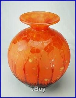 Schneider Le Verre Français Important Vase Boule Cardamines Verre Gravé