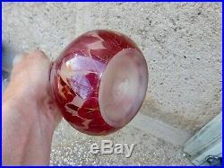 Soliflore Legras Serie Rubis 23 CM Pte De Verre Dégagée À L'acide Caméo Glass