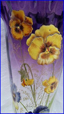 Sublime et grand (36,5 cm) vase verre émaillé Legras, décor relief épais