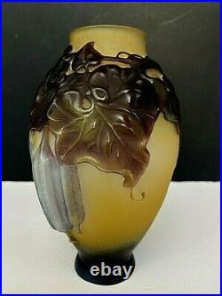 Superbe Et Rare Vase Galle Soufflé Moulé Relief Très Prononcé
