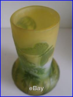 Superbe Gallé vase papillon parfait etat Art Nouveau Jugendstil Galle