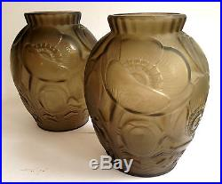 Superbe Paire de vase Art déco Pierre D AVESN décor floral era Hunebelle Sabino