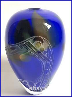 Superbe RARE VASE en verre soufflé signé Gisèle et Régis FIEVET 1990