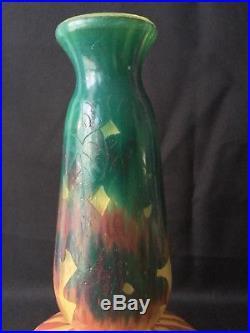 Superbe Vase Le Verre Francais Art Deco 1920 1930 Berlingot Decor Floral A931