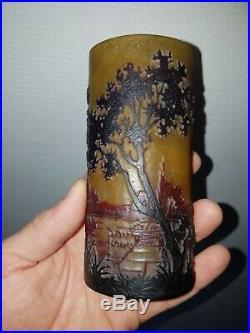 Superbe Vase Soliflore DAUM NANCY paysage Lac Dégagé acide old daum 1900 no copy