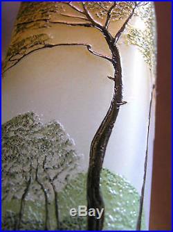 Superbe Vase de de LEGRAS & Décor à l'acide d'un paysage lacustre Signé en Camée