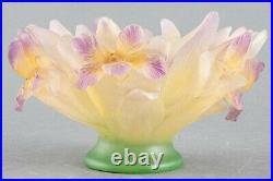 Superbe coupe Daum Nancy a décors d'Iris diamètre 22cm x 12,5cm