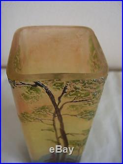 Superbe et authentique vase LEGRAS dégagé à l'acide art nouveau signé