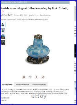 Superbe et rare vase Daum 1900 Muguet monture argent, era galle, Parfait