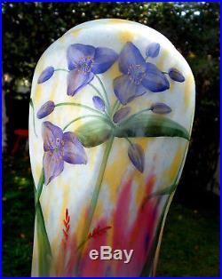 Superbe grand vase Daum anémones des bois, belle étoile, 36 cm, era Galle