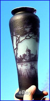 Superbe grand vase Muller décor lacustre et village éra Daum Gallé