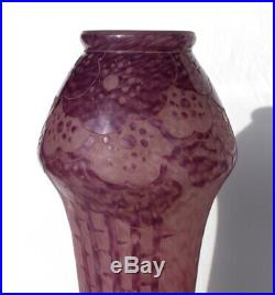 Superbe grand vase Schneider Le Verre Français Eglantines éra Daum Gallé