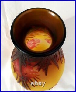 Superbe imposant vase Gallé aux lauriers roses era Daum 1900